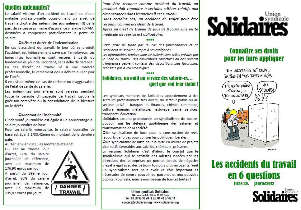 Fiche N 20 Les Accidents Du Travail En 6 Questions