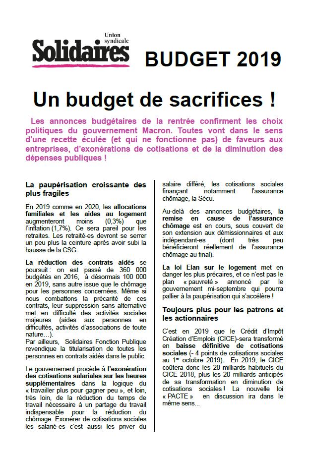Budget 2019 Un Budget De Sacrifices