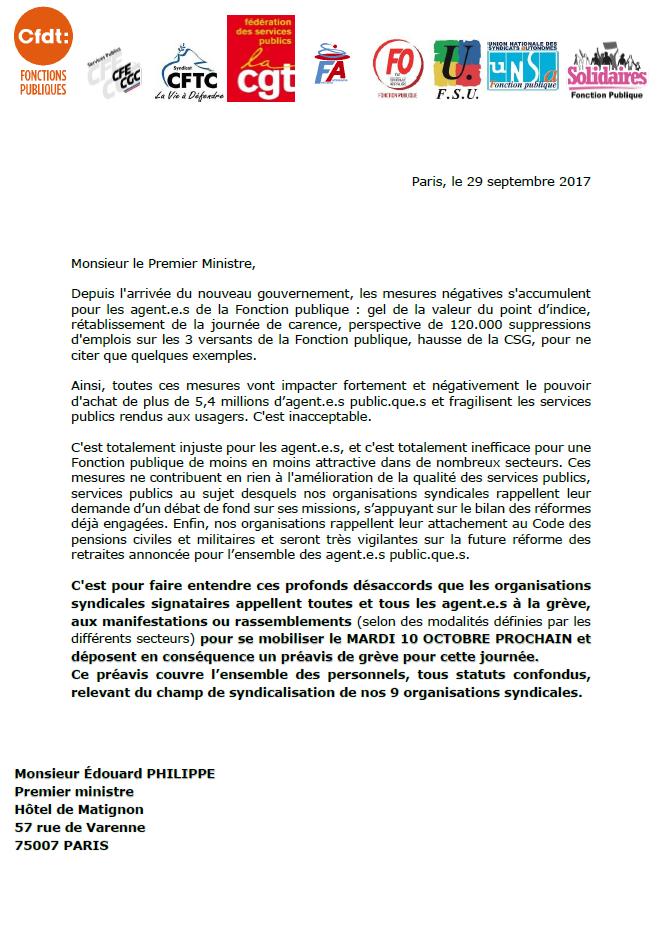 Préavis de grève Fp pour le 10 octobre 2017