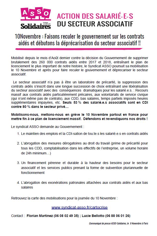 Contrats Aides Journee De Mobilisation Interprofessionnelle